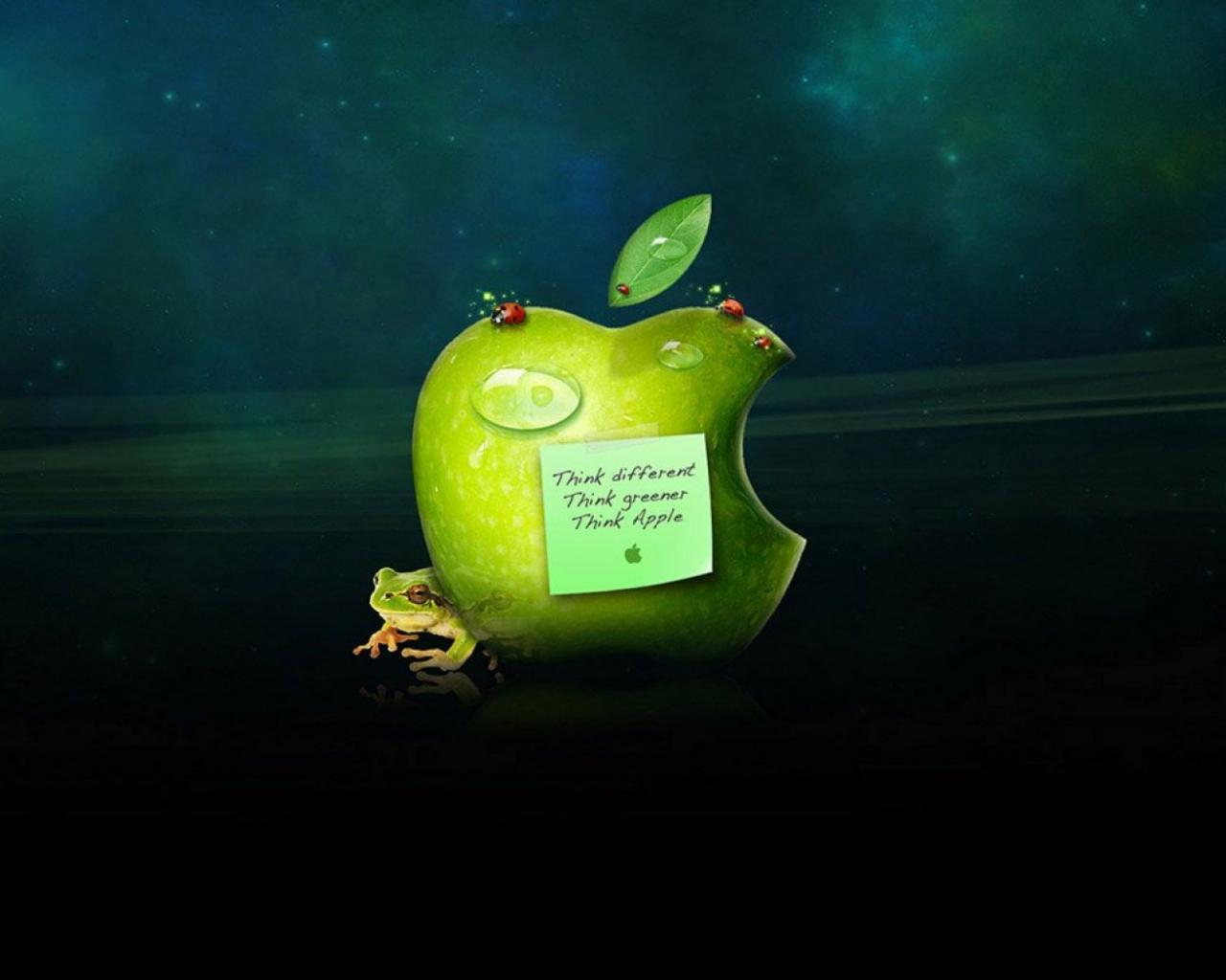 Apple logo and frog 1280x1024