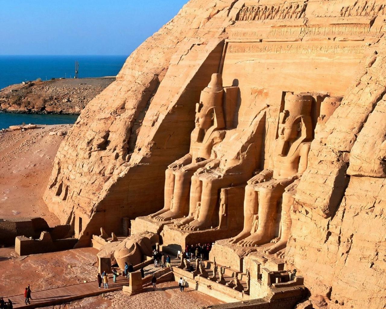 Скачать обои Храм Рамзеса, скала Абу-Симбел, Египет.